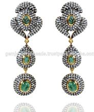 14k Yellow Gold Pave Diamond Emerald Gemstone Dangle Earrings Jewelry Supplier