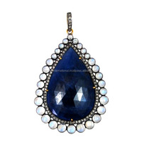 Handmade Gemstone Jewelry Diamond Blue Sapphire Stone Moonstone Pendant