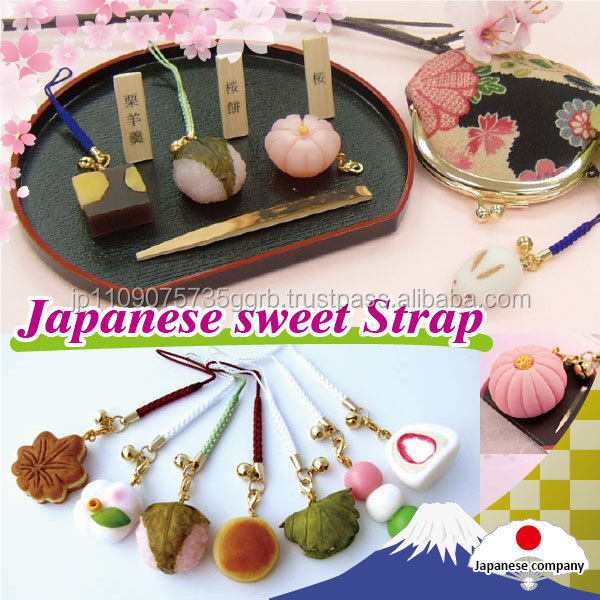 Colorful Japanese miniature wagashi strap key chain and gift items in various designs