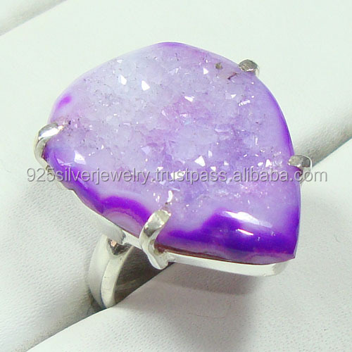 Agate druzy sterling silver jewelry prong setting rings for women Handmade jewelry