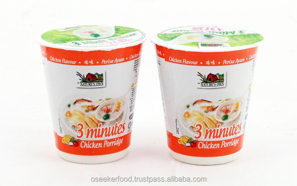 3 Minutes Instant Rice Porridge (Chicken)-40gm/Cup, Use A Patented Pulverizing Process To Ensure TheTexture Of Porridge Is Good