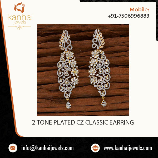 Splendid Design Top Class 2 Tone Plated CZ Classic Earring for Buyers