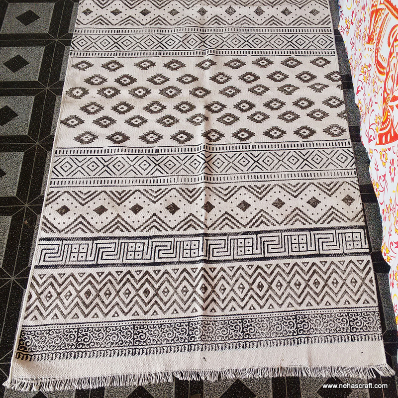 Custom Size Beautiful Mexican Style Yoga Mats Blanket NCCRG-1B Hand Block Printed Cotton Rugs Home Decor Mats Indian Carpets Art