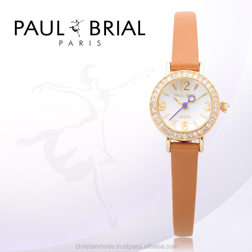 Lady Jewelry Watches Women Genuine Leather Strap Water Resistant Brand New Paul Brial Made in Korea