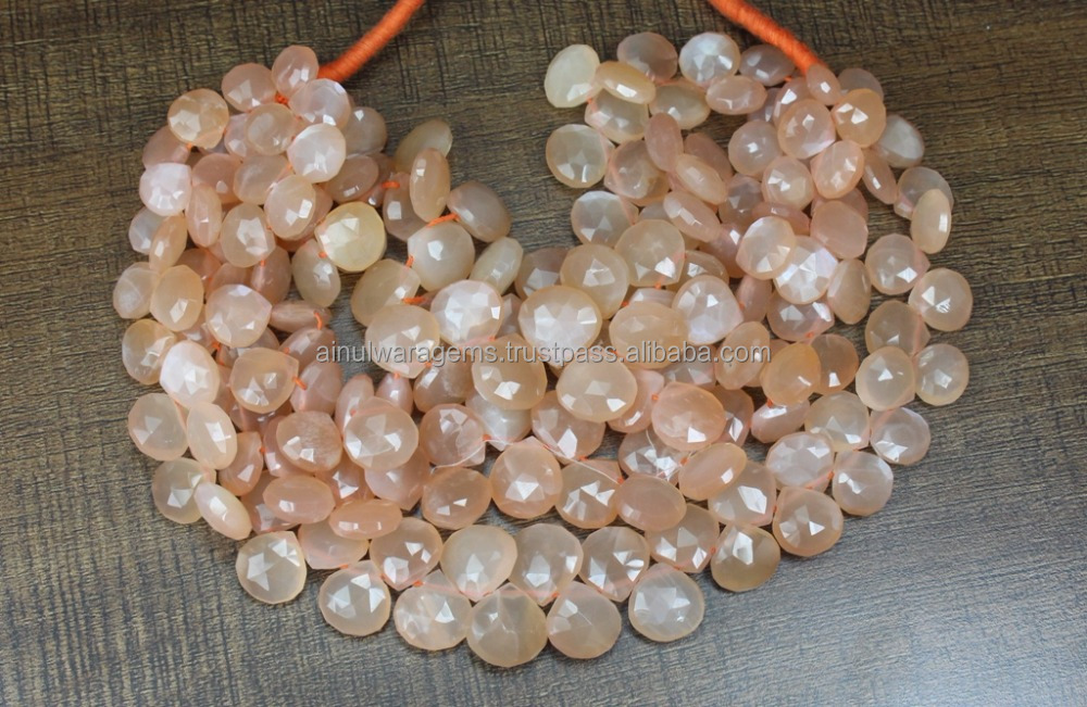 Natural Peach Moonstone Heart Shape Faceted Briolettes Beads