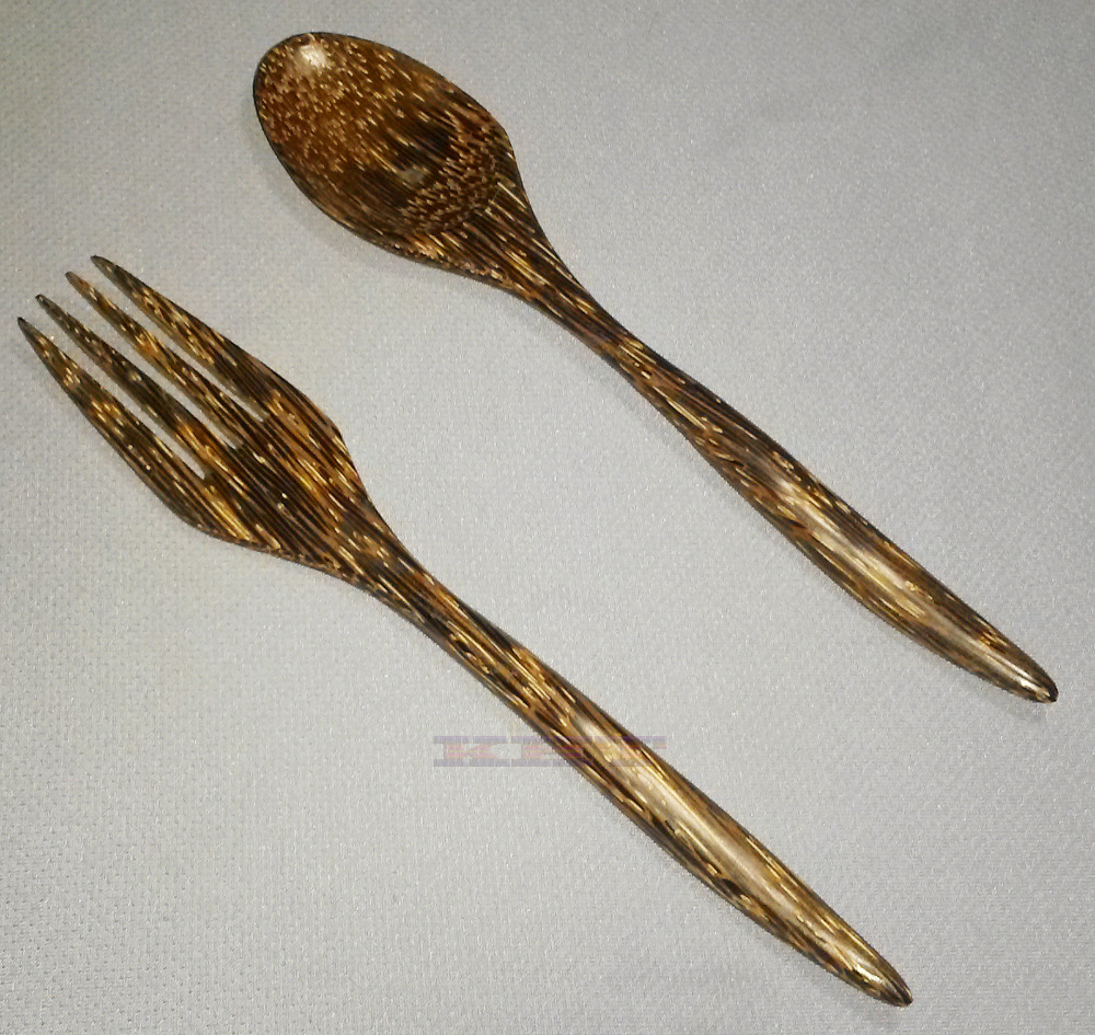 Wooden Cutlery Spoons & Forks Thai exotic subtropical palm wood