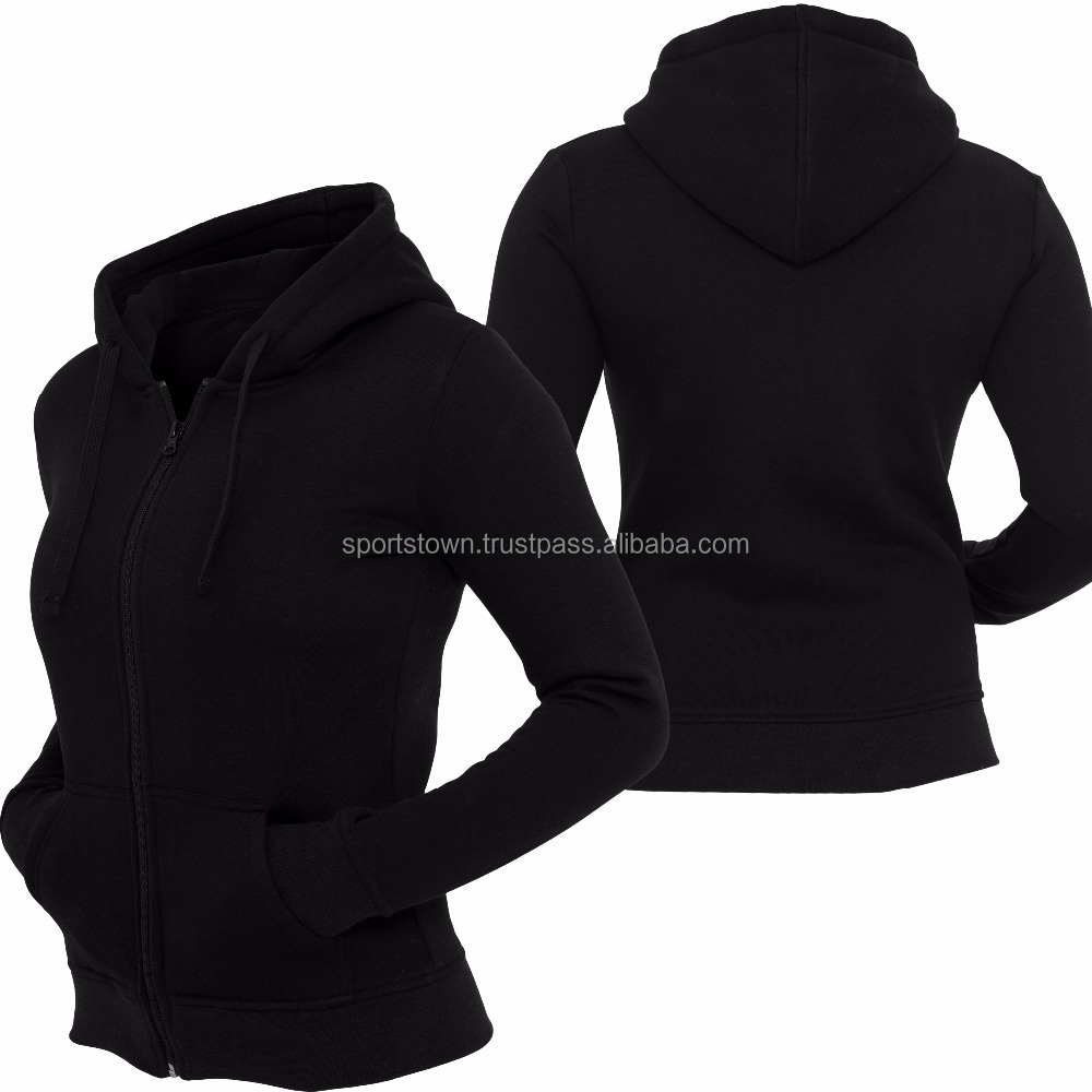 2017 Customized Hoodies Wholesale top quality Plain Designed Your Own women zip up kangaroo hoodie