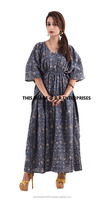 Indian handmade printed 100% cotton embroidered cotton kaftan dress
