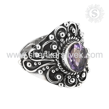 Supreme 925 Sterling Silver Amethyst Ring Oxidised Indian Silver Jewelry Wholesaler Semi Precious Ring