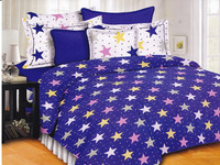 Cotton 165TC Small Star on Blue Base Bed Linen Double Bed Sheets 90 X 100 Inch Bedding Sets 4 Pcs Sets