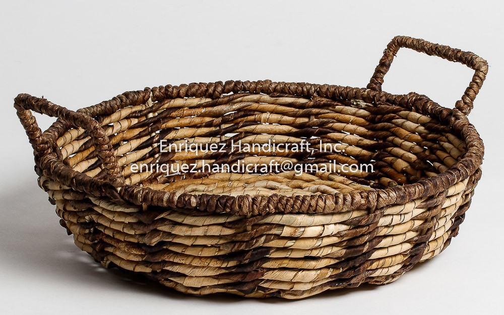 Round Woven Tabletop Tray with ear handles