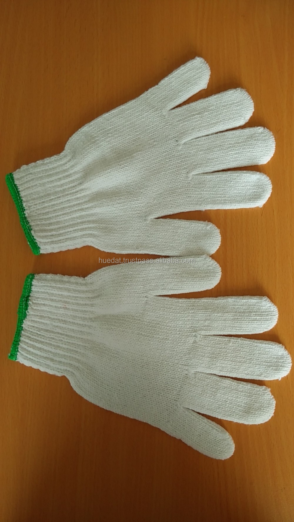 Bleach white working safety gloves, working cotton gloves for export from Vietnam
