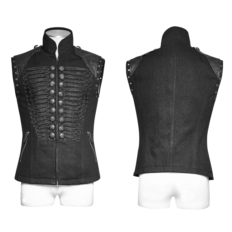 Y-711 Punk Rave Men's black military uniform style vest