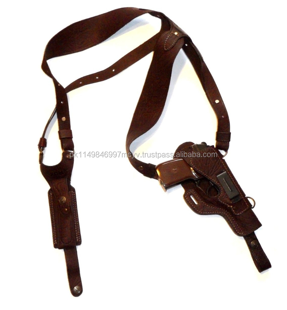 Shoulder gun holster with mag pouch TT genuine leather
