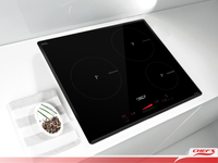 Black Schott CERAN Glass with Touch control 3 Burner Induction Cooker
