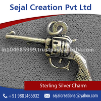 Cost Effective Gun Shaped Sterling Silver Charm for Men's Bracelet