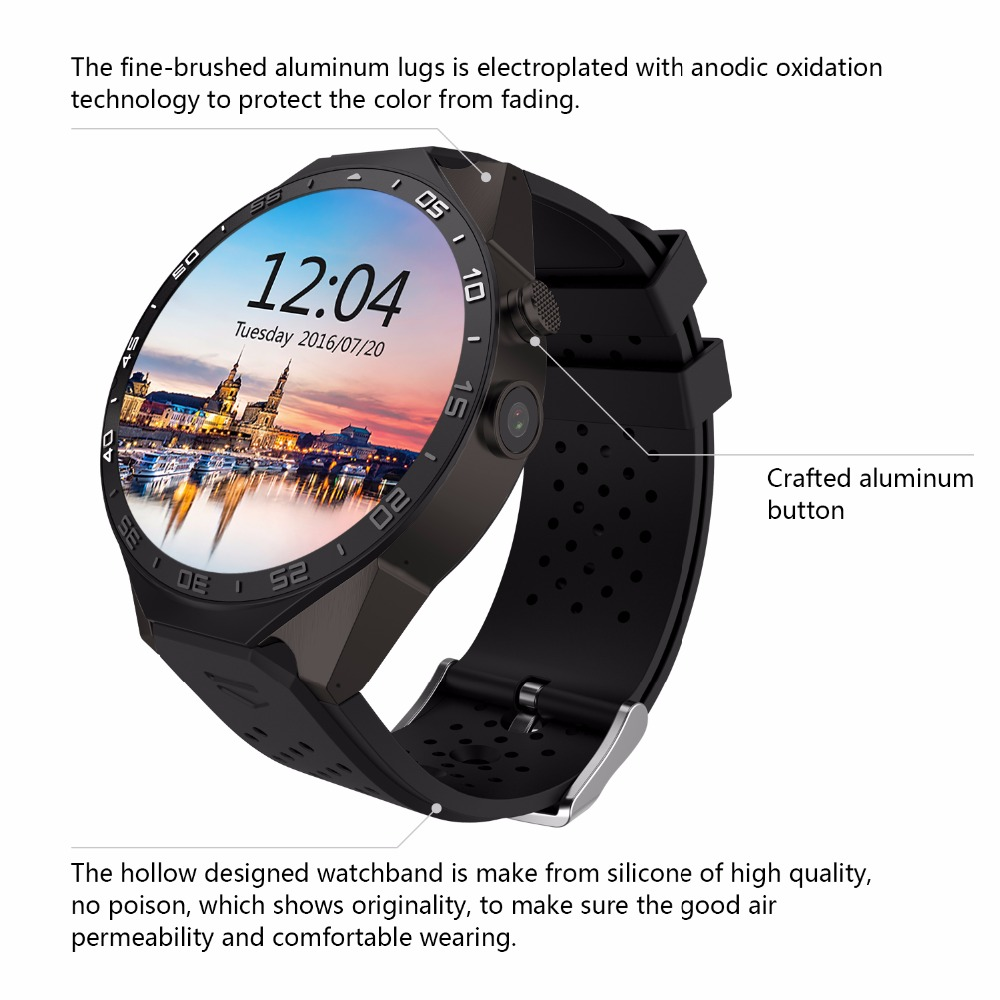 2016 Smartwatch KW88 MT6580 Quad Core 1.39 Inch Amoled 400*400 3G Calling Smart Watch Pedometer GPS Camera