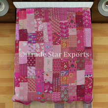 Indian patola silk cotton patchwork fabric kantha quilt bedspread