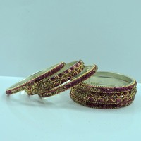 Wholesale Awesome Shiny Rani Color Crystal Handcrafted Bangle Set