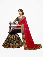 Navy Blue Color With Pink Color & Golden Embroidery Work On Border Elegance Designer Sarees