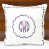 Purple Polka Dots Monogram Embroidered Pillow