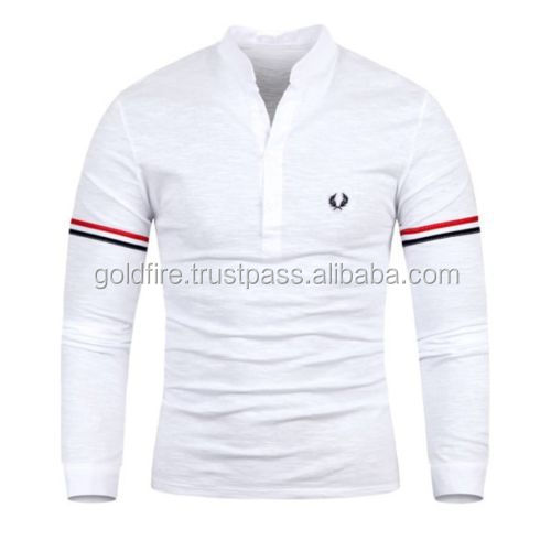 Fashion Mens Modern Slim Fit Long Sleeve Shirts Solid Sport Casual POLO T-Shirt