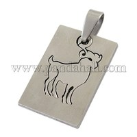 201 Stainless Steel Pendants, Carved, Rectangle, Aries, about 35mm long, 18mm wide, 1.5mm thick, hole: 4mm wide, 9mm long