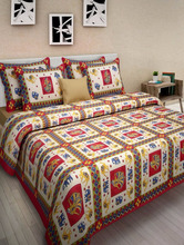 Wholessale 100% cotton fabric painting designs for bed sheets With 2 Pillow Covers