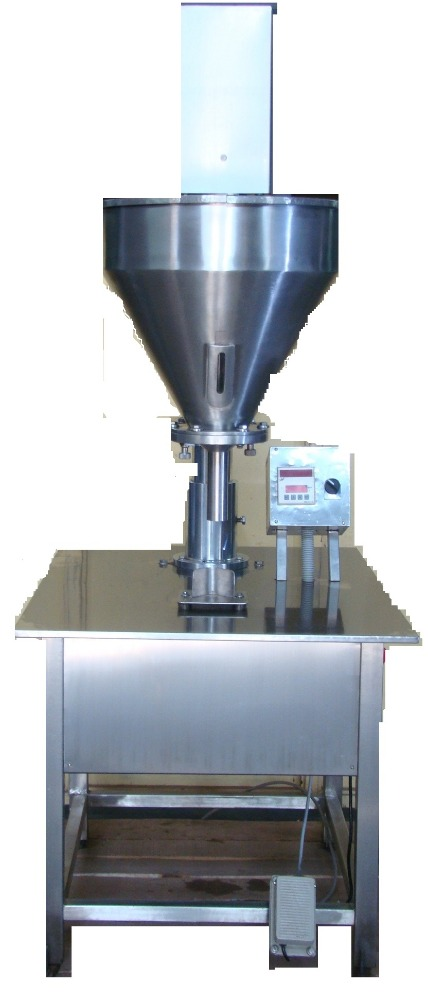 SEMI AUTOMATIC AUGUR TYPE DRY SYRUP POWDER FILLING MACHINE
