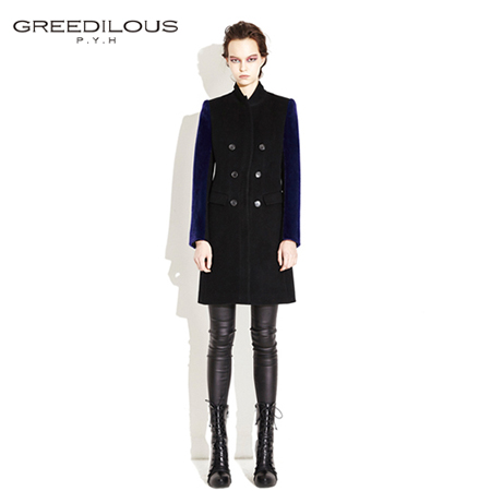 [GREEDILOUS] Single coat(black)_flap front pocket_ blue sleeves combi wool coat with double button_slim fit_structura