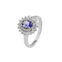 Natural VVS clarity Tanzanite solitaire ring with white topaz 925 silver, 14k gold