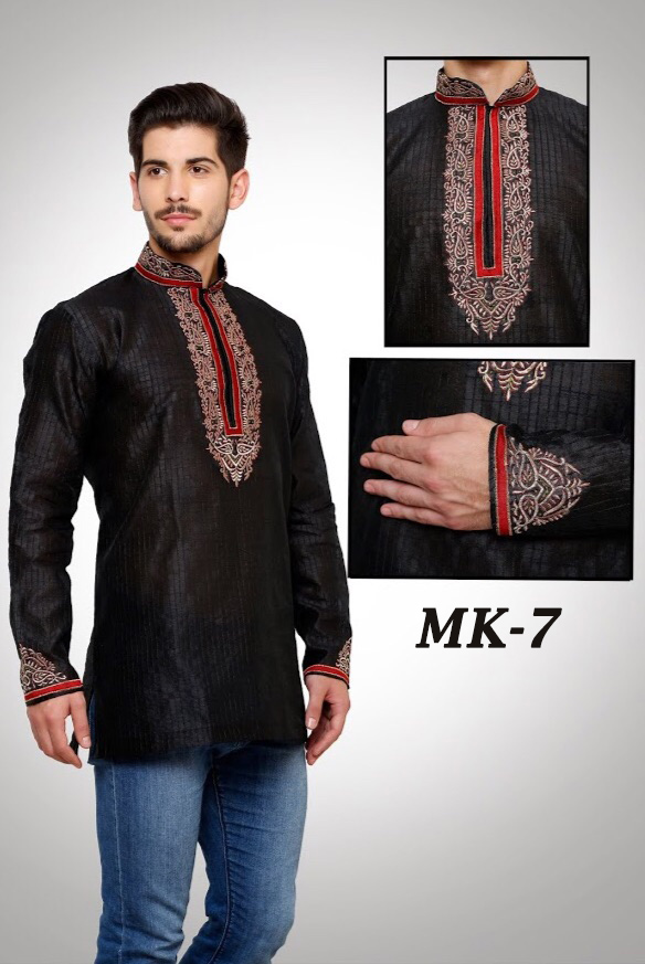 Black Short Kurta With Neck and caff Embroidery in Wholesale