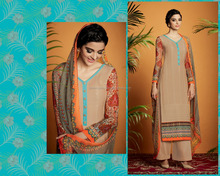 Classical Brown Cotton Satin Designer Palazzo Suit/Buy Online Salwar Kameez