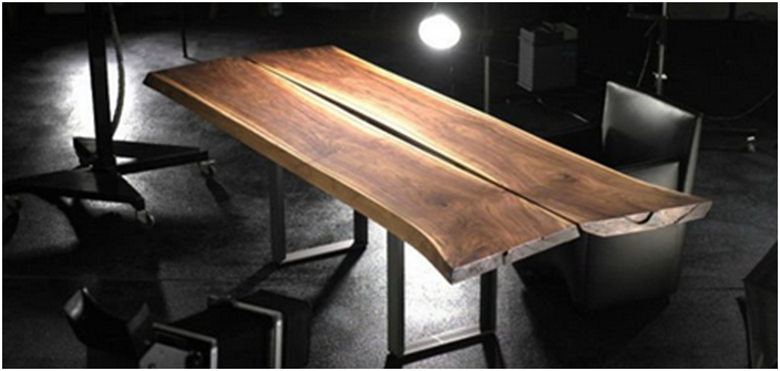 Lirko Dining Table, Wood Slab table