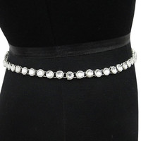 Women Wear Indian Kundan Kamar Bandh Silver Tone CZ Bridal Wedding Waist Belt Jewely Gift -KJB63