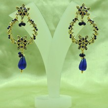 Wholesale Awesome Gold Plated Indian Bali Style Light Weight Blue Earrings