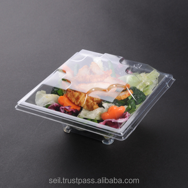 Disposable plastic container with clear lid
