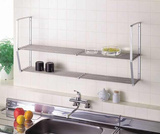 Stainless steel stainless steel hanging shelf for kitchen, bathroom etc. with width adjusting function made in Japan
