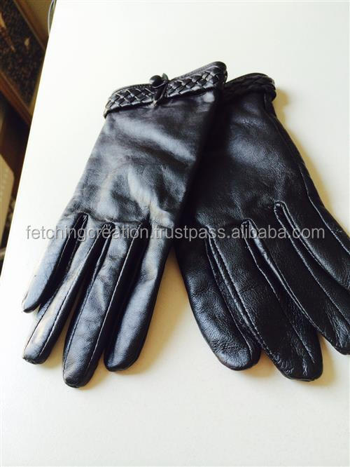 2016 wholesales Black Leather fashion Glove Genuine leather gloves