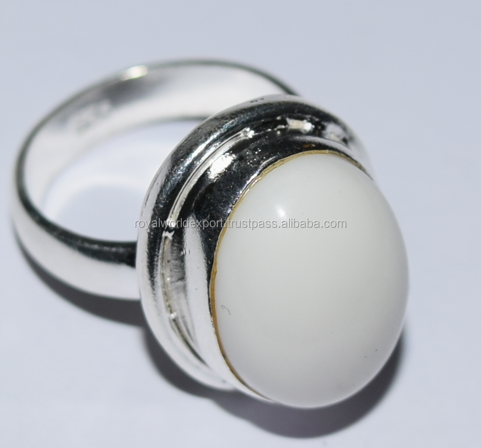White stone silver ring Wholesale natural gemstone silver ring Jewelry factory in jaipur