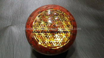 Red Jasper Orgonite Ball with Flower Of Life For Sell : Manufacturer Orgonite Healing Ball For Sell : Ogonite Ball For Sell