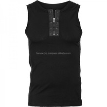 2016 Gothic Black gothic tank-top with zipper neck 2015 cotton material FC-4132