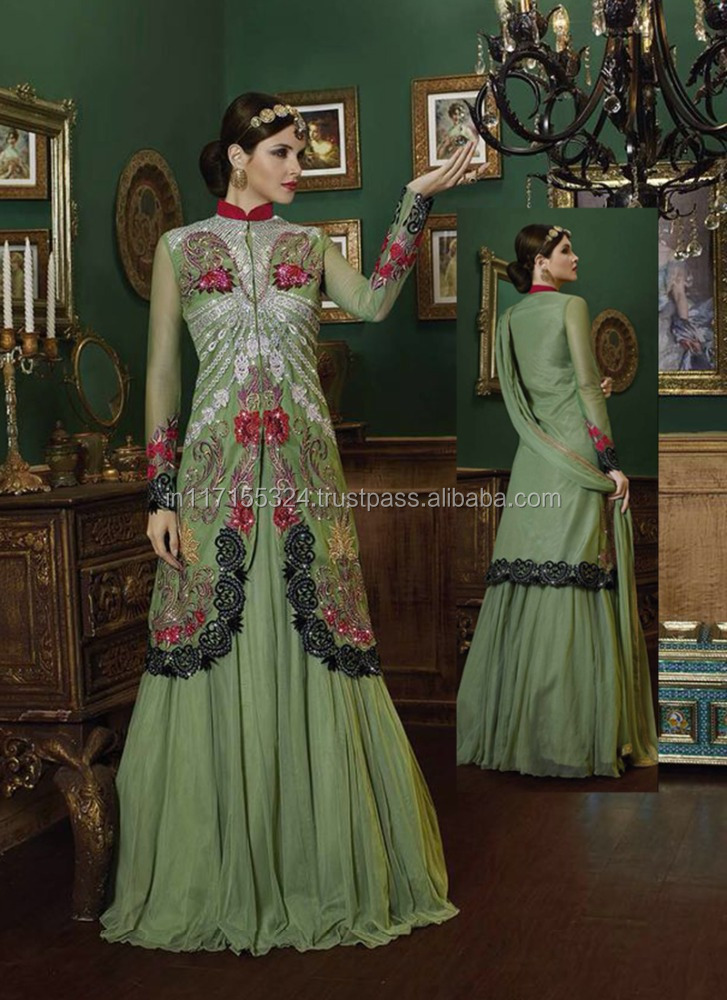 Anrakali salwar kameez design - Neck designs for net salwar kameez - Online wholesale shop - Designer long green salwar kameez
