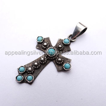 Natural vintage turquoise gemstone 925 sterling silver unique cross pendant