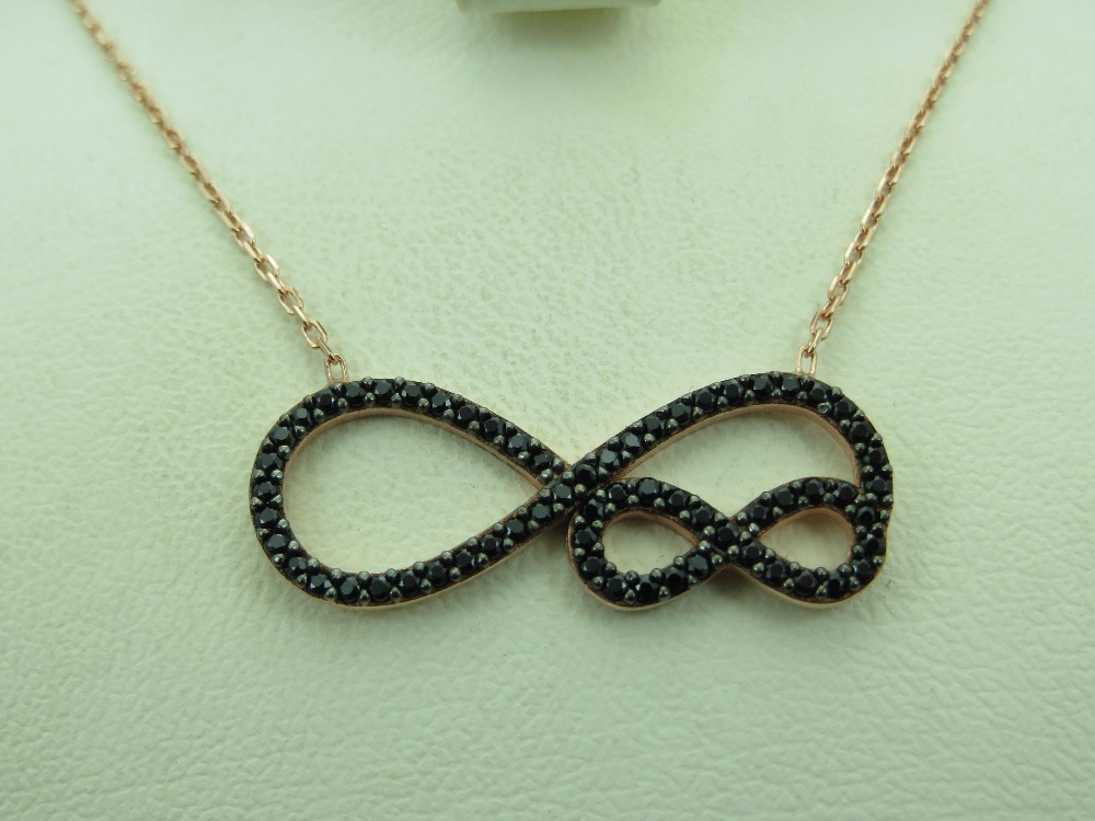 925 Sterling Silver Turkish Handmade Infinity Women's Necklace Jewelry Wholesale