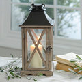 White Wash Wood candle holder lantern With Metal Dome Top