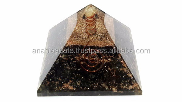 Black Tourmaline Energy Generator With Crystal Small Ball : Agate Healing Energy Generator