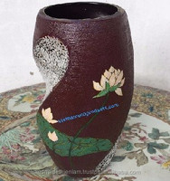 1107100916 Lacquer flower vase with eggshell for decoration D 18.5 cm x H 40.5 cm