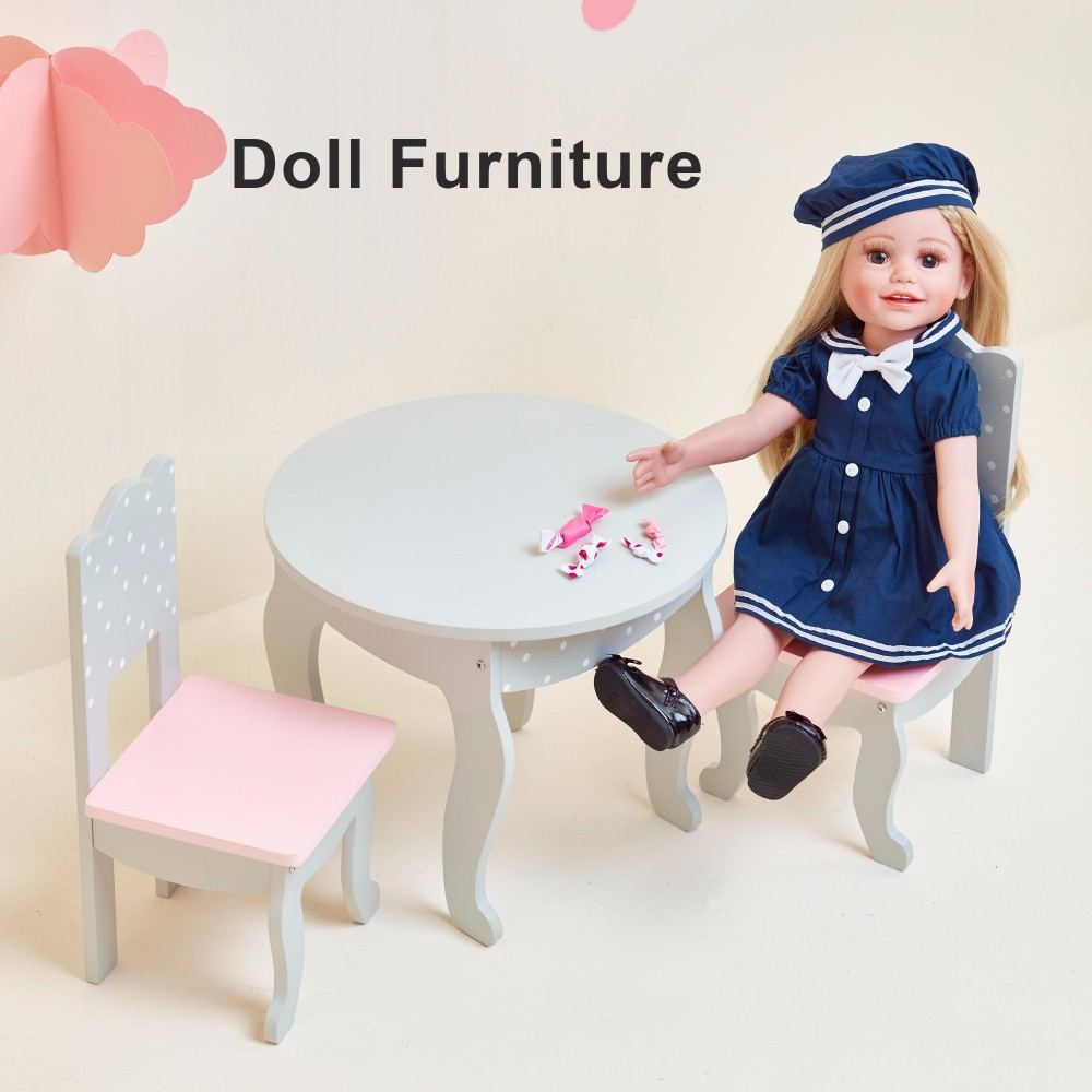 Olivia's Little World- Soft Pink Lounge Set (Grey Polka Dots) | 18 inch Doll Furniture
