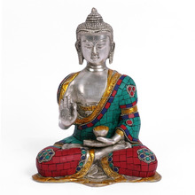 Abhaya Buddha Figurine Brass Turquoise Silver Finish Sculpture Indian Blessing Buddha Statue